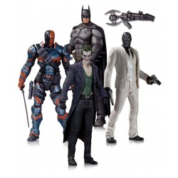 Pack de 4 Figuras Batman Arkham Origins, Batman, Deathstroke, The Joker y Black Mask 17 cm - DC Collectibles