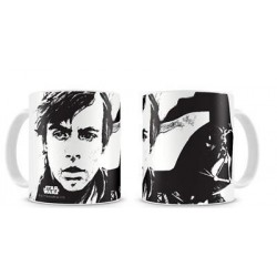 Taza Luke Skywalker y Darth Vader Star Wars Blanca y Fondo Negro