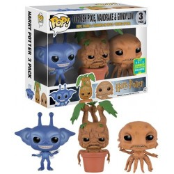 Pack de 3 Figuras Harry Potter Cornish Pixie, Mandrake y Grindylow SDCC 2016 Exclusive de Harry Potter Cabezon Pop Funko 4 cm