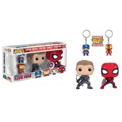 Pack Figura Civil War Capitan America Spiderman Ojo de Halcon y Iron Man Con LLaveros Pop Funko 10 cm Exclusive