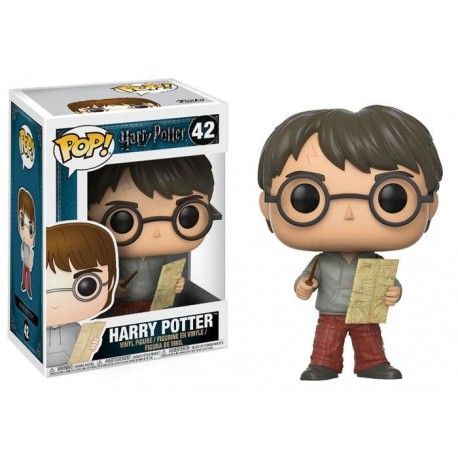 Figura Harry Potter con el Mapa del Merodeador de Harry Potter Cabezon Pop Funko 10 cm