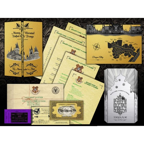 Pack Harry Potter PERSONALIZADO Carta Aceptacion Hogwarts, Ticket Tren y Bus, Mapa