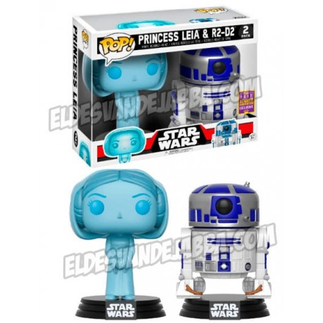 Pack Figuras Princesa Leia y R2-D2 Edicion Limitada Summer Convention 2017 Exclusive de Star Wars Cabezon Pop Funko 10 cm