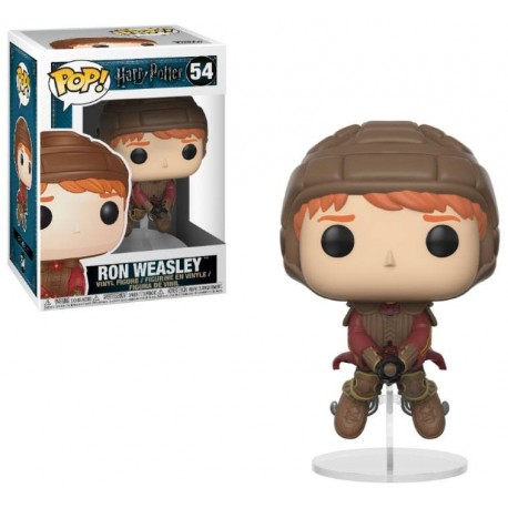 Figura Ron Weasley con Escoba Broom de Harry Potter Cabezon Pop Funko 10 cm