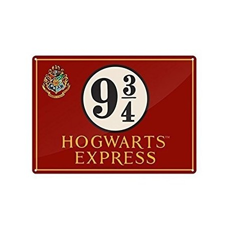Placa Metalica Hogwarts Express Harry Potter 41 x 30 cm