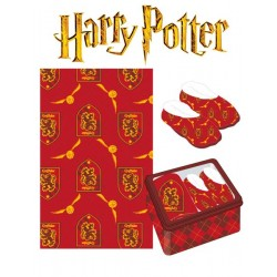 Set Regalo Harry Potter Manta, Pantuflas y Caja Metalica