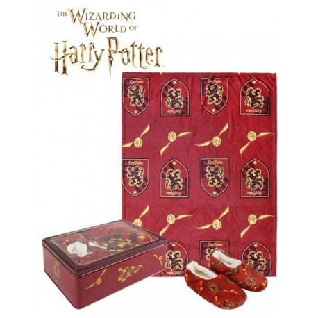 Pack Regalo Harry Potter Manta, Pantuflas y Caja Metalica