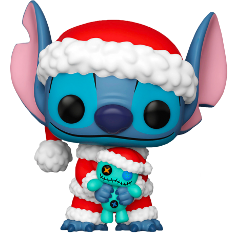 Figura Stitch Santa Claus with Scrump Exclusivo de Lilo y Stitch Pop Funko 10 cm