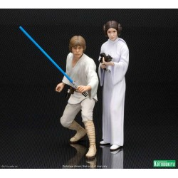 Luke Skywalker y Princesa Leia Pack 2 Estatuas Star Wars 15 cms ARTFX+ KOTOBUKIYA